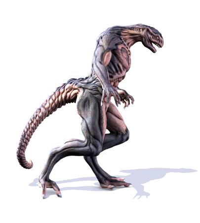 An alien takes a walk - 3D render.