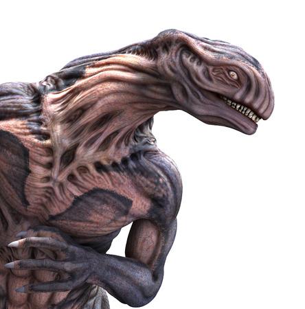 Portrait of a very strange looking alien - 3d render with digital painting.