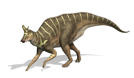 The Lambeosaurus was a dinosaur that lived during the Cretaeous Period - 3d render. Imagens