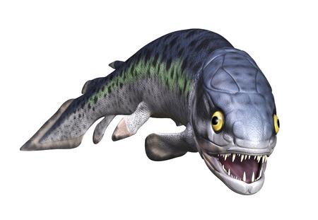 Die Rhizodus war eine sehr große (6-7 Meter) prähistorischen Fisch mit langen Zähnen und Reißzähne - 3D übertragen. Standard-Bild