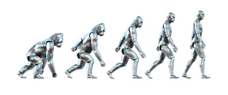 A chart showing the progression of a robot ape evolving into a robot human - 3D renders.