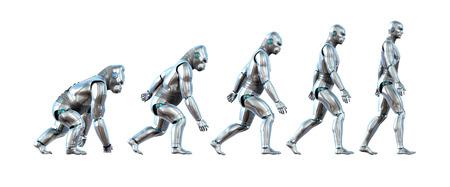 Un gráfico que muestra la progresión de un mono robot evolucionando hacia un robot humano - renders 3D. Foto de archivo - 34902592