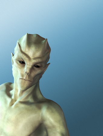 An alien portrait on a blue background with space for your message - 3d render.
