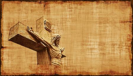 The Crucifixion of Jesus on parchment, horizontal orientation.