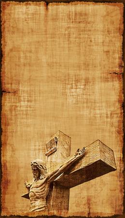 The Crucifixion of Jesus on parchment, vertical orientation. Zdjęcie Seryjne - 36007796