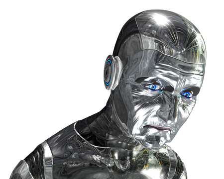 Your technology is getting old, time for an upgrade. 3D rendered elderly robot portrait.