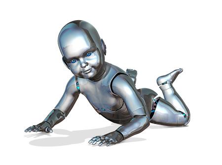 A robo-baby crawling - emerging new technology - 3d render. Stock fotó