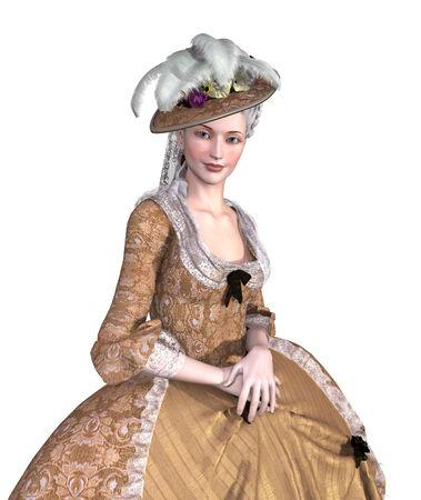 Portrait d'une dame portant une robe elegent 18ème de style rococo siècle -, 3D, render.
