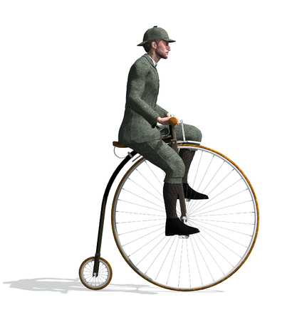 A man riding a penny-farthing bicycle - 3D render. Фото со стока