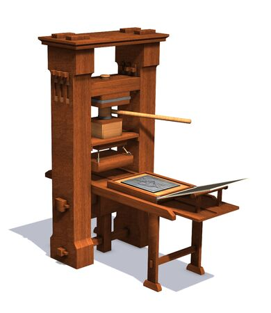 An antique victorian printing press - 3D render.