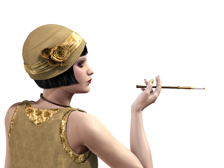 1920s flapper in profile with a cigarette holder - 3D render.