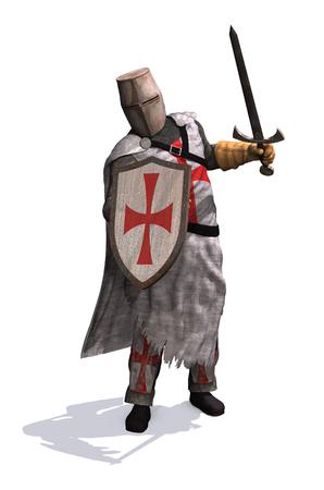 A Templar Knight ready to do battle - 3d render.