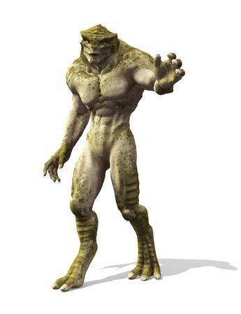 A friendly alien goes for a stroll - 3d render.
