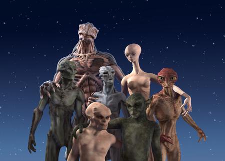 A group of seven alien races together for a portrait - 3d render.