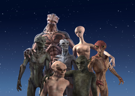 A group of seven alien races together for a portrait - 3d render.