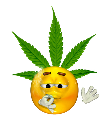 An emoticon enjoys puffing on a marijuana cigarette - 3d render with digital painting.