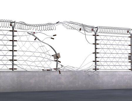 Schrikdraad uit elkaar getrokken tijdens een inbraak - 3D renderen.