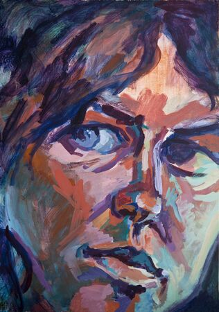 Portrait of a Conflicted Woman, acrylic painting. Stok Fotoğraf