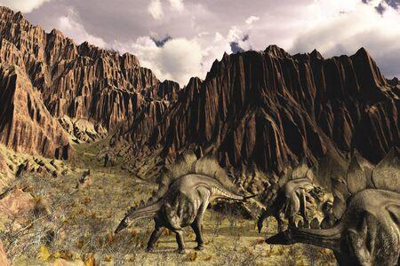 A late Jurassic prehistoric scene with Stegosaurus dinosaurs - 3D render. Stock Photo