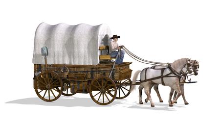 Un vecchio west carro coperto - rendering 3D. Archivio Fotografico