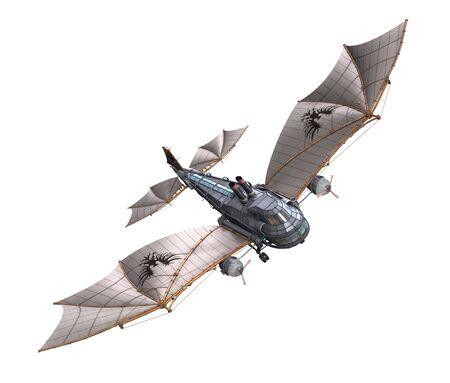 A steampunk plane in flight - 3d render.