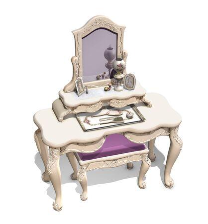 Victorian Eitelkeit auf weißem Hintergrund - 3D-Darstellung. Standard-Bild - 56096555