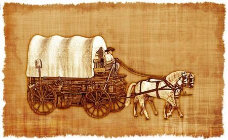 Een oude versleten perkament met een Old West huifkar.