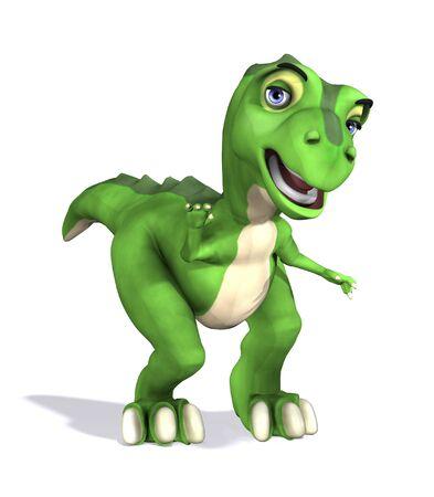 A friendly greeting from a cute little t-rex dinosaur - 3d render.