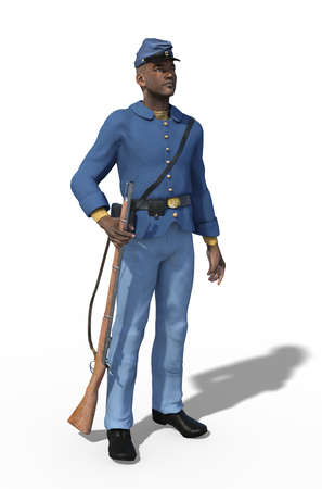 An African American Unio Civil War soldier standing with a rifle - 3d render. Stock Photo