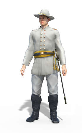 A Confederate officer in the US Civil War - 3D render.