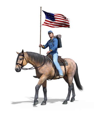 A Civil War Union soldier riding horseback carrying the US flag - 3d render.