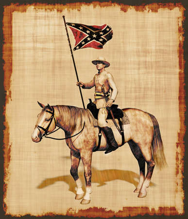 A 3D render was used to create this parchment of a Civil War Officer on horseback.