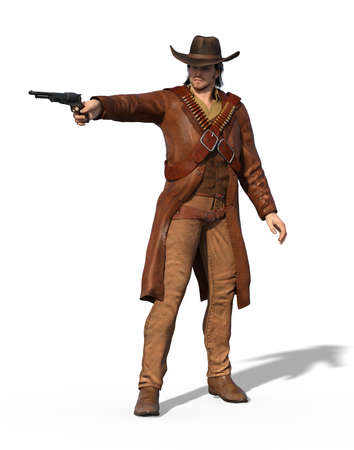 An old west outlaw takes aim - 3d render. Stock Photo