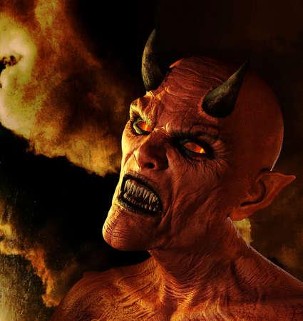 Portret van een demon in de hel - digitaal gemanipuleerd 3d render. Stockfoto