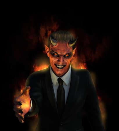 悪魔は、良い取引 - デジタル絵画を 3 D のレンダリングの地獄を提供しています。
