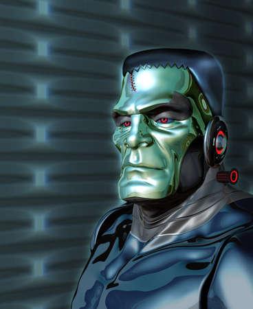 Robot Monster illustrates the danger of artificial intelligence - 3d render with digital painting. Banco de Imagens - 80716834