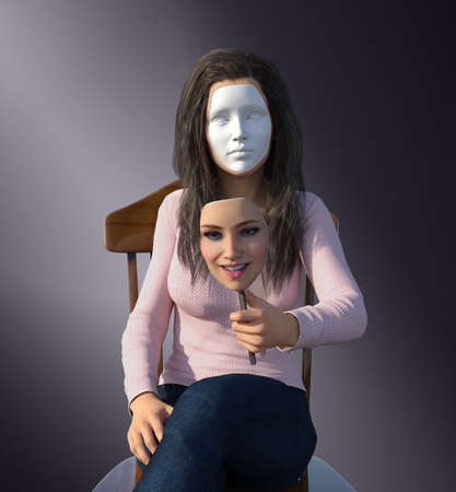 3D render depicting a woman who hides her true feelings behind a mask. Imagens