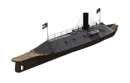 The CSS Virginia was a steam powered Civil War Confederate warship 'Ironclad' reinforced with iron plates - 3D render.