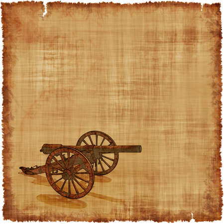 An old worn parchment featuring a Civil War era cannon. Stock Photo