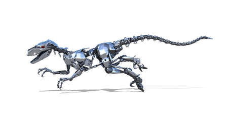 A robo-dinosaur is racing across your document! 3D render.