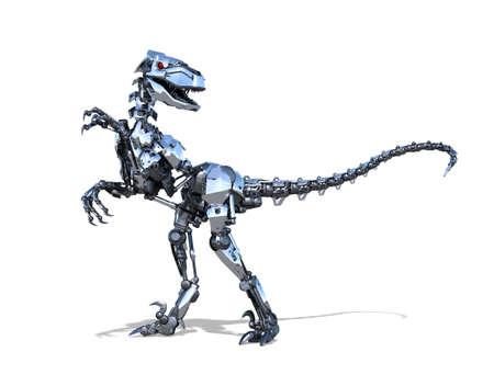 A very powerful RoboRaptor robot dinosaur - 3D render.