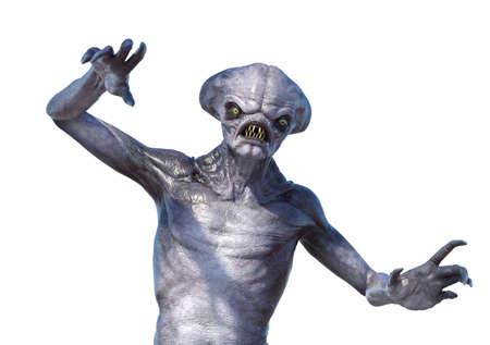 A very unfriendly alien - 3d render.