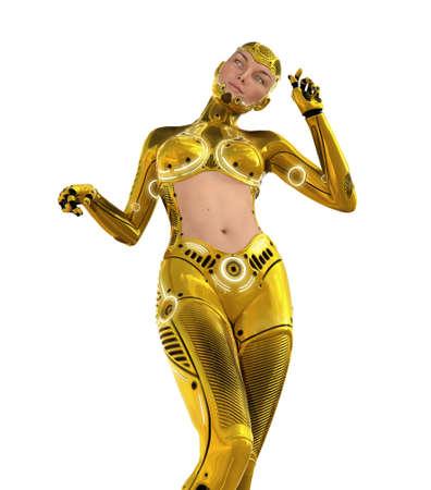 A beautiful golden cyborg, seen below - 3D render. Stok Fotoğraf