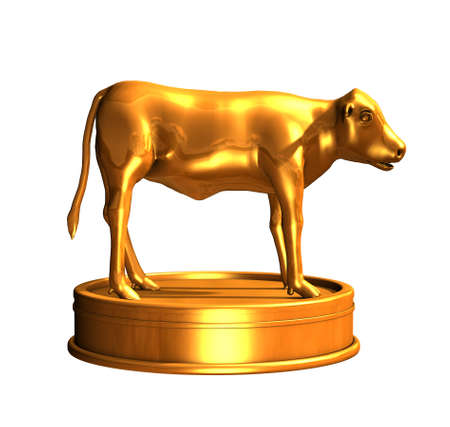 The golden calf was an idol created by ancient Isrealites while Moses was on Mount Sinai - 3d render. Imagens
