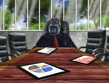 Gorilla at boardroom table photo