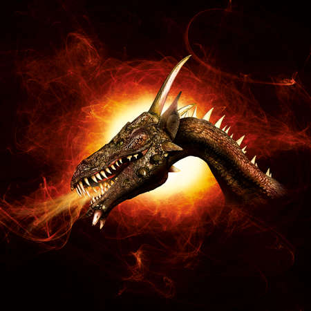 fierce: Dragon in flames Stock Photo