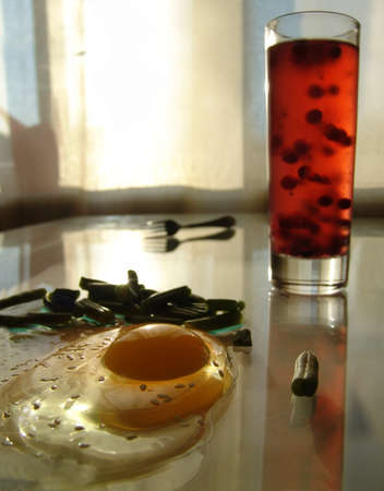 Still life with fried egg Stock Photo