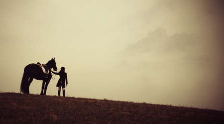 Horse with rider Stock Photo