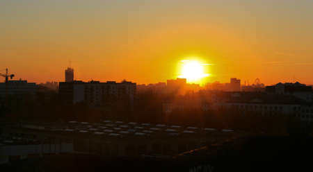 panorama of the sunset silhouette buildings and the Ferris Wheel Stock Photo - 12708419