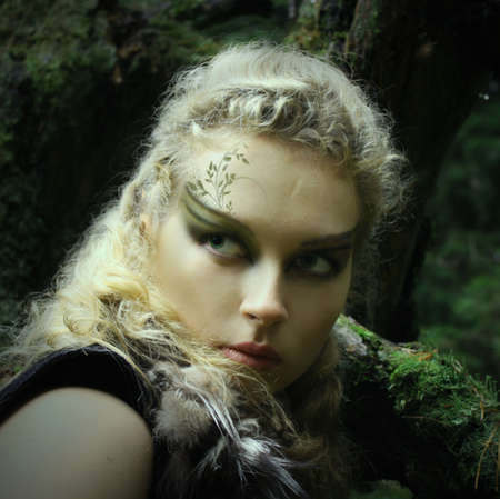 Elf girl in a summer wood, with painted face Stock Photo - 12888700
